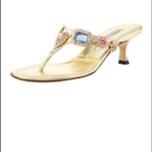 Manolo blahnik metallic beaded kitten heel sandal